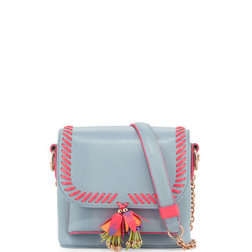 Sophia Webster Claudie Tassel Leather Crossbody Bag, Pearl Blue