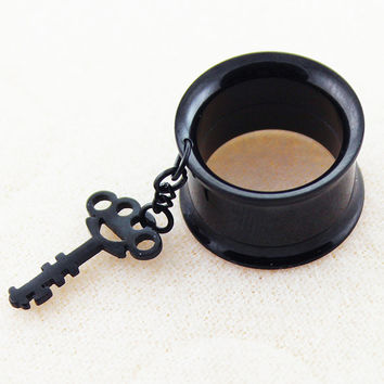 Black Anodized over Key Dangling Stainless Steel Internally Threaded Screw Fit Double Flared Flesh Tunnel Ear Plug
