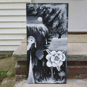 "Abstract painting, Rose painting, Tree painting , Bird painting, Black and white ,12x24"" canvas, Canvas painting, Acrylic Painting, Artwork"
