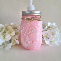 Pink mason jar soap dispenser, bathroom decor, bathroom accessories, soap dish, girls bathroom, housewares, home decor