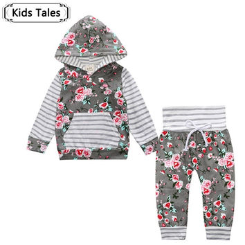 Baby Girls Long Sleeve Hooded Top & Floral pants