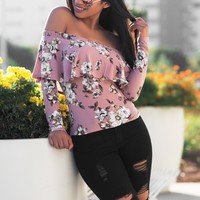 Serena Floral Top - Dusty Pink