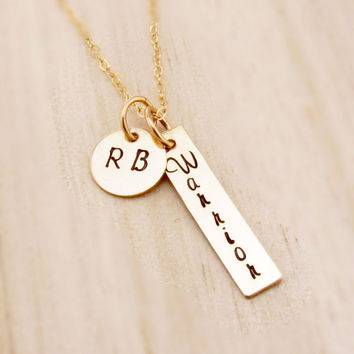 Gold Bar Necklace with Gold Round Disc, Personalized, Hand Stamped Gold Rectangle, Initial Disc, Custom, Warrior Jewelry, Vertical Tag