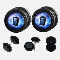 Black Acrylic Galaxy Dor Who  watch Plugs,fake Gauges,UV Acrylic  plugs,plugs gauges