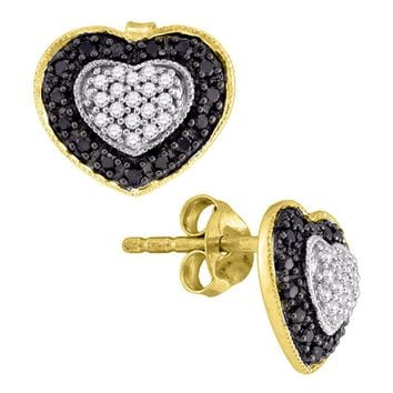 10kt Yellow Gold Womens Round Black Color Enhanced Diamond Heart Stud Earrings 1/2 Cttw
