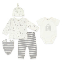 Petit Lem™ 5-Piece Home Top, Pant, Bodysuit, Hat, and Bib Set in Grey