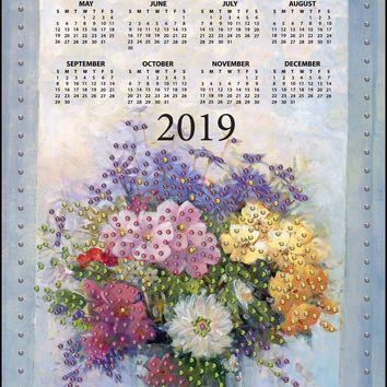 Pastel Floral Design Works 2019 Calendar Felt Applique Kit