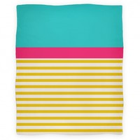 Color Block Stripe Blanket (Yellow)