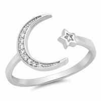 Sterling Silver CZ Simulated Diamond Moon and Star Ring