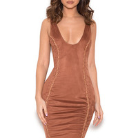 Clothing : Bodycon Dresses : 'Alanis' Copper Vegan Suede Sleeveless Dress