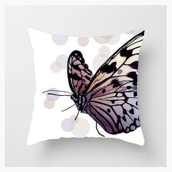 Throw Pillow Cover, 16x16, 18x18, 20x20, Home Décor, Bokeh Butterfly Sophisticate, Purple, Pink, Photography, Graphic Design, Etsy ArtBJC