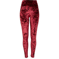 Red Chelsea Girl velvet leggings