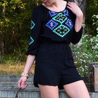 Wanderer Black Embroidered Romper