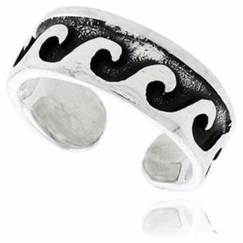 925 Sterling Silver Surf Nautical Wave Oxidized Adjustable Toe Ring