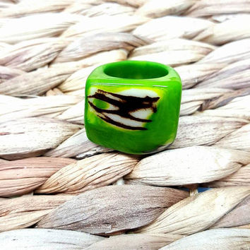 Green Ring, Tagua nut ring, Statement Ring, Natural Ring, Natural Brand, hypoallergenic Ring, organic ring, Tagua ring,  handmade ring