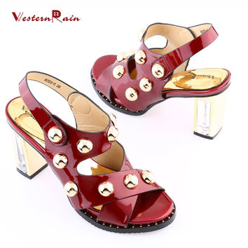 WesternRain Latest Design Italian Style Gold Plated Beads Bright Red Plating Crystal High Heel Women Shoes For Dinner Party