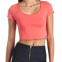 Cotton Short Sleeve Crop Top by Charlotte Russe - Coral