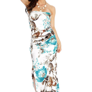 Teal White Floral Flowy Prom Dress