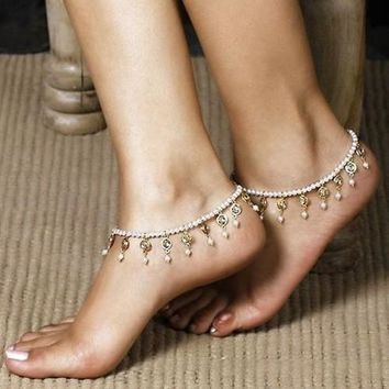 1pc Women's Fashion Pearl Rhinestone Crystal Anklet Bracelet Tassels Barefoot Ankle Foot Cute Jewelry New (Size: One Size, Color: White) = 5658242689
