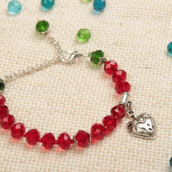 Bright handmade wrist bracelet with glass beads crystal bracelet gifts for her