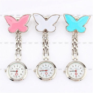 Nurses Watch Clip-on Brooch Fob Pendant Hanging Fobwatch Pocket Watch Butterfly [8322860993]