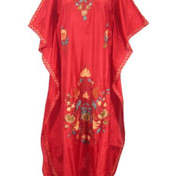 Boho Caftans Kashmiri Embroidered Red Silk Kaftan Designer Long Maxi Dress Xl