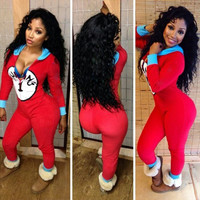 "Red ""THANG 1"" Zip-Up Jumpsuit"