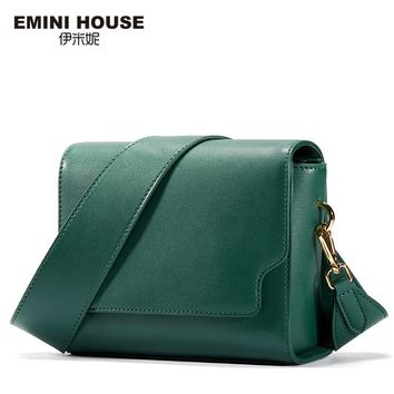 EMINI HOUSE Fashion Wide Belt Flap Bag Split Leather Women Messenger Bags Retro Women Shoulder Bag Crossbody Bags For Women