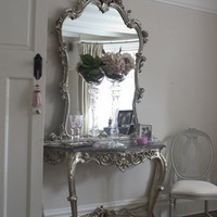 Clarissa Silver Marble Top Console Table - Sweetpea & Willow London