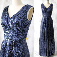 New Arrival Navy Blue Sequin Bridesmaid Dresses A-Line V Neck Sleeveless Long Formal Party Dresses Robe De Demoiselle BND29