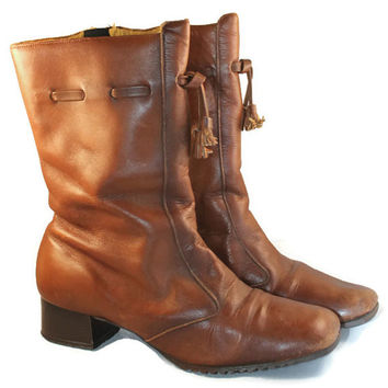 Vintage 60s Saddle Brown Cobbie's Boot// Tassel Stacked Heel Boot// Mod Midi Boot// Size 6// Majorette Boot//