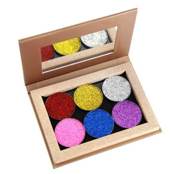 Coosei 6 Colors Glitter Eye Shadow Palette Makeup Shadows Powder Glitter Naked Cosmetic Magnetic Eyeshadow Palette
