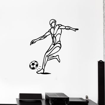 Wall Decal Football Player Ball Soccer Game Silhouette Vinyl Sticker (ed1178)
