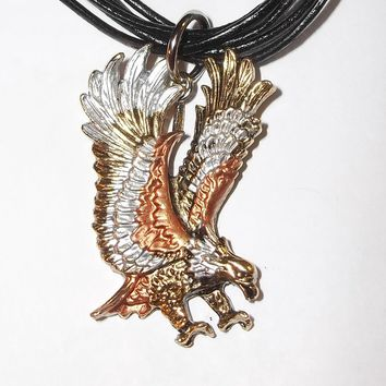 "Vintage Men's Flying Eagle Tricolor Silver, Copper & Brass 2"" Pendant on Black 20"" Multi Strand Cording"
