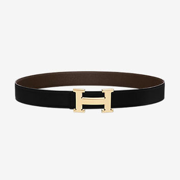 H Striee belt buckle & Reversible leather strap 32 mm