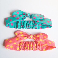 Happy Baby head wrap Bandana bow headband baby size lovely pop dot color :)  cute baby children jewelry and accessory by love factory