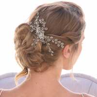 Wired Crystal Wedding Hair Comb with Crystal flowers Bridal Hair Accessories Spray of Beads, Beaded Crystal Hair Clip for Your Wedding Hair