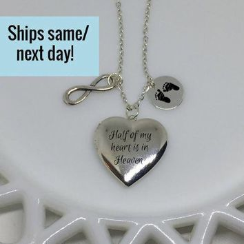 Miscarriage Locket, Silver Locket, Silver Memorial Locket, Memorial Jewelry, Memorial Locket, Heart Locket, Engraved Heart Locket