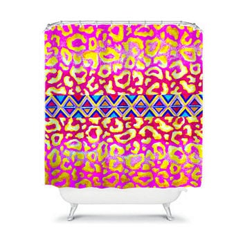 TRIBAL LEOPARD in PINK Fine Art Painting Shower Curtain Washable Decor Feminine Animal Print Colorful Geometric Native Stylish Dorm Bathroom