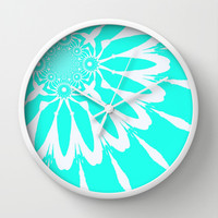 Turquoise & White Modern Flower Wall Clock by 2sweet4words Designs | Society6