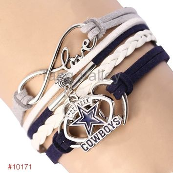 Infinity Love Dallas Cowboys Football Team Bracelet 2016 New Leather Bracelet Fans Jewelry 6Pcs/Lot ! Free Shipping!