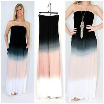 Karissa Strapless Black Ombre Tie Dyed Maxi Dress Jersey Knit Raviya COUTURE S-L
