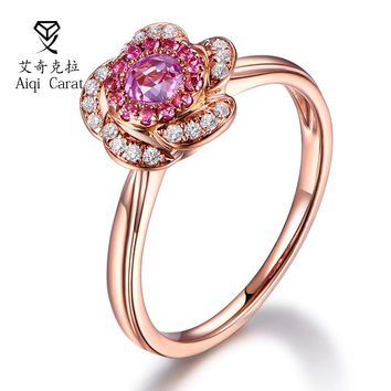 AIQICARAT Red Crystal Rings Fashion Flower Design Romantic Zircon Crystal Rose Golden Rings For Womens Wedding Jewelry