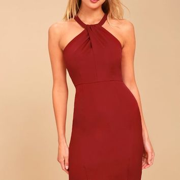 Be My Baby Wine Red Bodycon Midi Dress