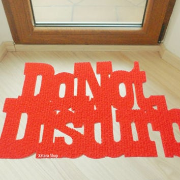 "Design door mat ""Do not disturb"". Personalized rug."