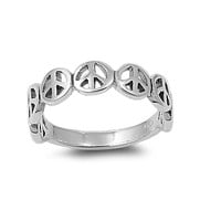 925 Sterling Silver Peace Forever Ever 6MM Ring
