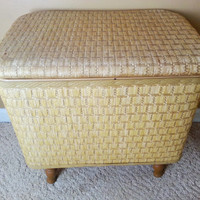 Redmon Sewing Hamper Home Storage Rattan Finish Stool Basket Ottoman
