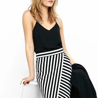 Striped High Waisted Asymmetrical Skirt from EXPRESS