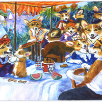Corgi Boating Party Mouse Pad, Hot Pad or Trivet 7321MP