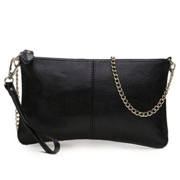 2012 day clutch bag chain genuine leather cross-body women's handbag long design first layer of cowhide